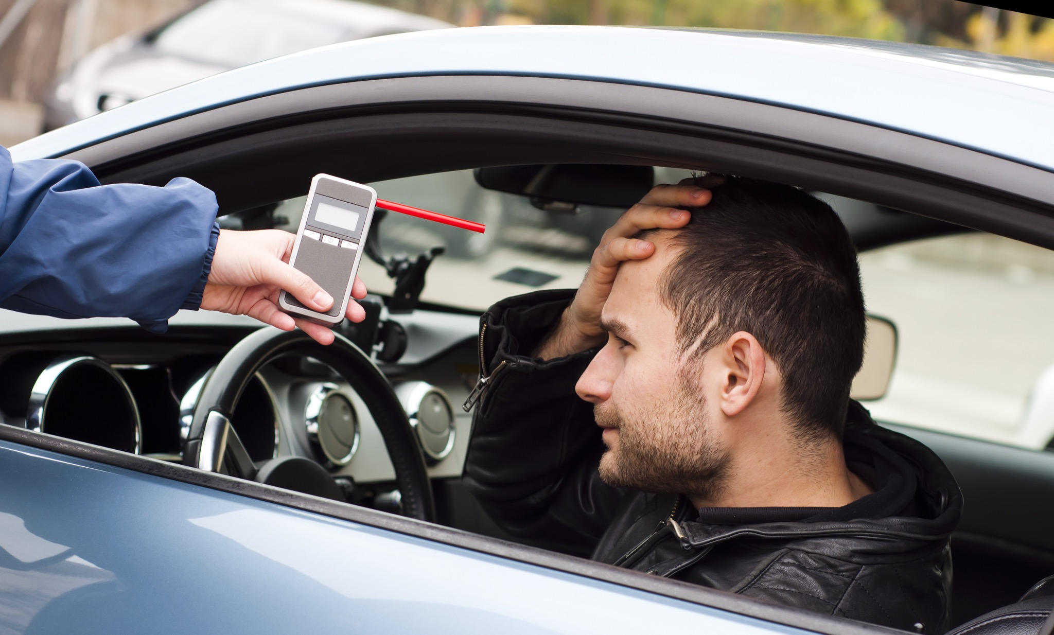 young drunk driver crashed when asked for breathalyzer test for alcohol content