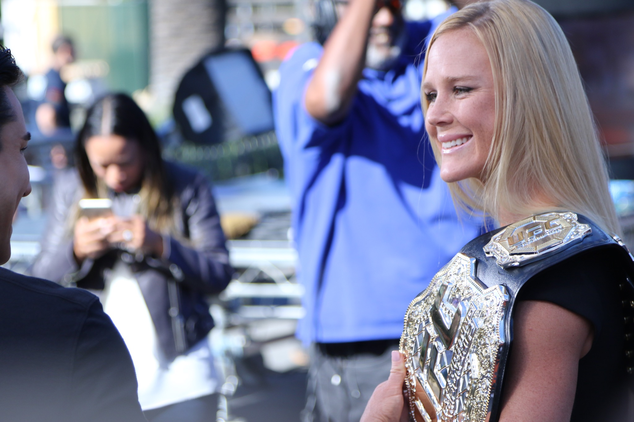 Holly Holm brings her championship belt to set of 'Extra' at Universal Studios Hollywood Featuring: Holly Holm Where: Los Angeles, California, United States When: 19 Nov 2015 Credit: WENN.com