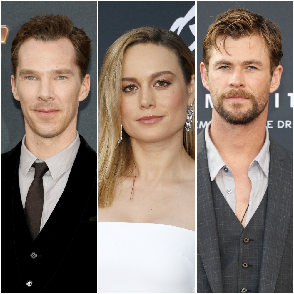 Benedict Cumberbatch, Brie Larson, and Chris Hemsworth, stars of the Marvel Cinematic Universe