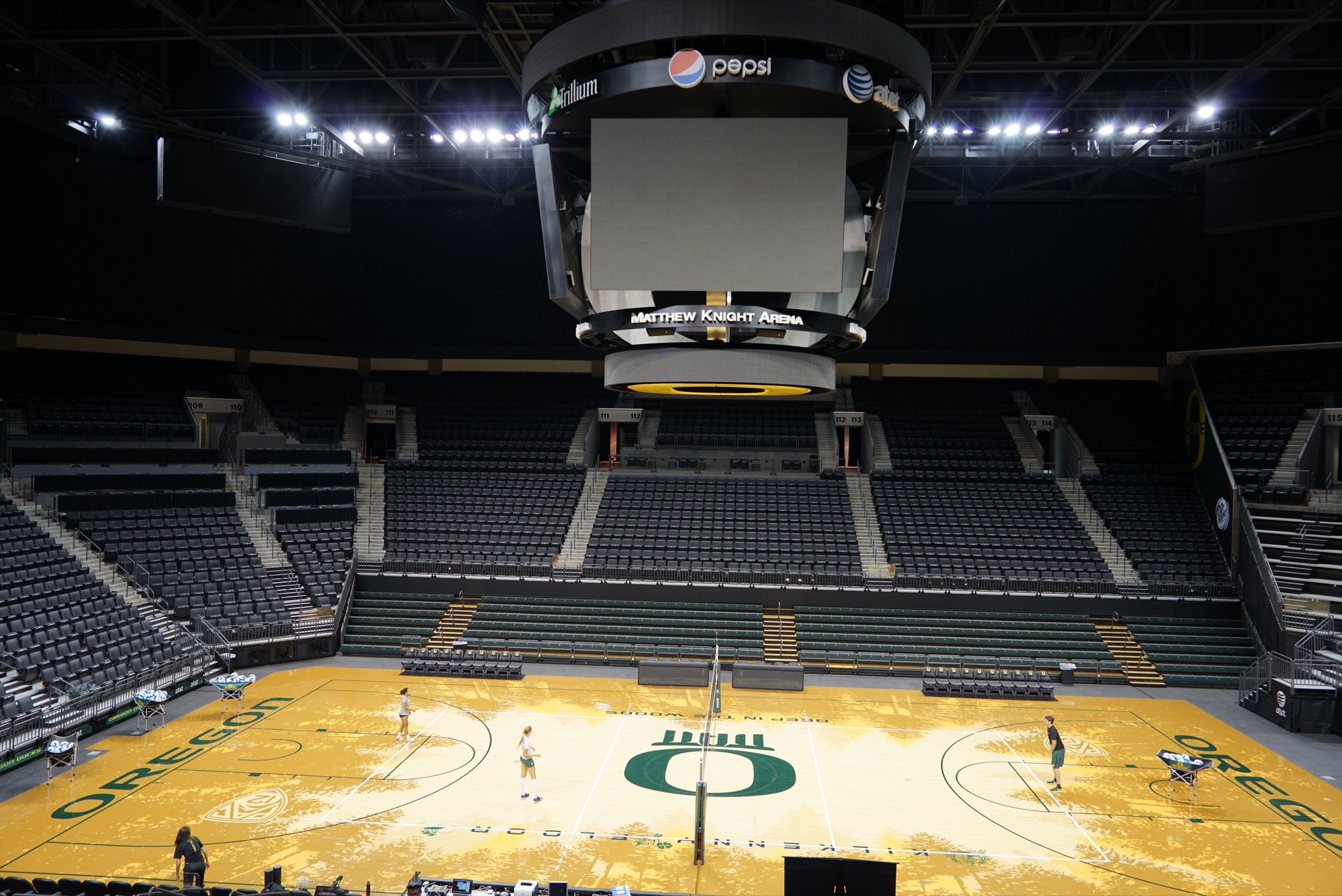 EUGENE, OR - August 20, 2014: Matthew Knight Arena on the University of Oregon campus. MKA hosts basketball games and special events for UO.