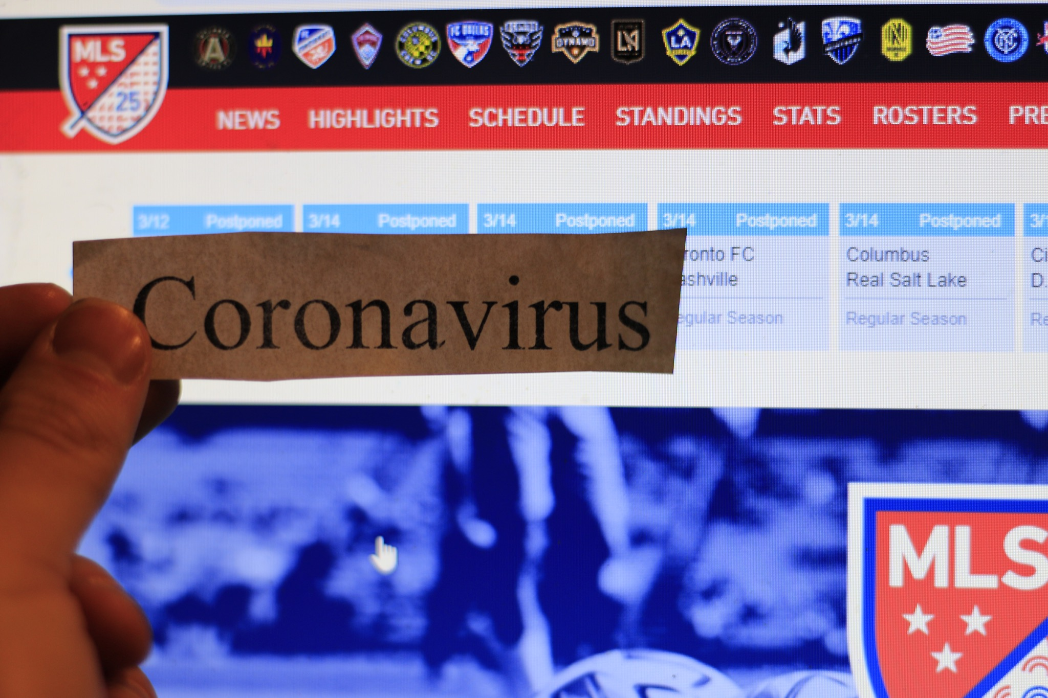 London Canada, MArch 12 2020: editorial illustrative photo of coronavirus or covid-19 in front of MLS website.