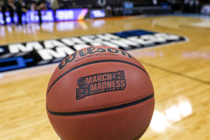 NCAA basketball with March Madness logo