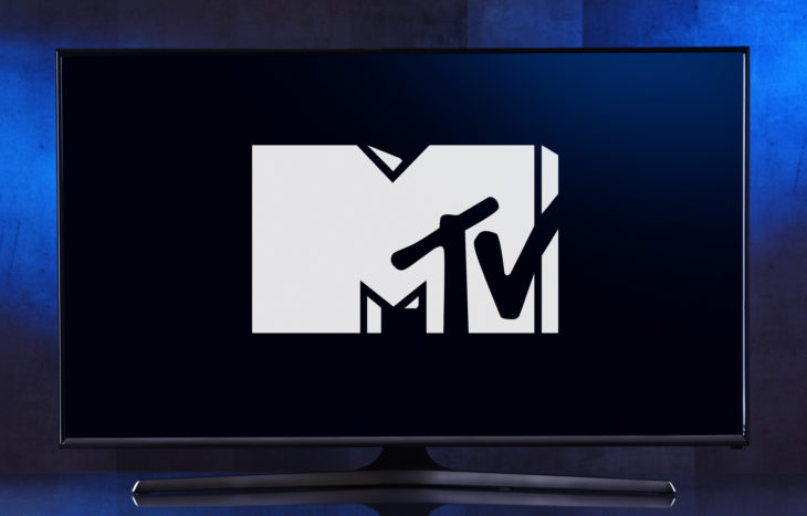 POZNAN, POL - FEB 04, 2020: Flat-screen TV set displaying logo of MTV, an American pay television channel, based in New York City