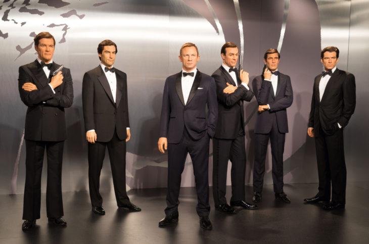 London, UK - December 2015: Madame Tussaud's Waxwork Museum, all the James Bond Actors on Display